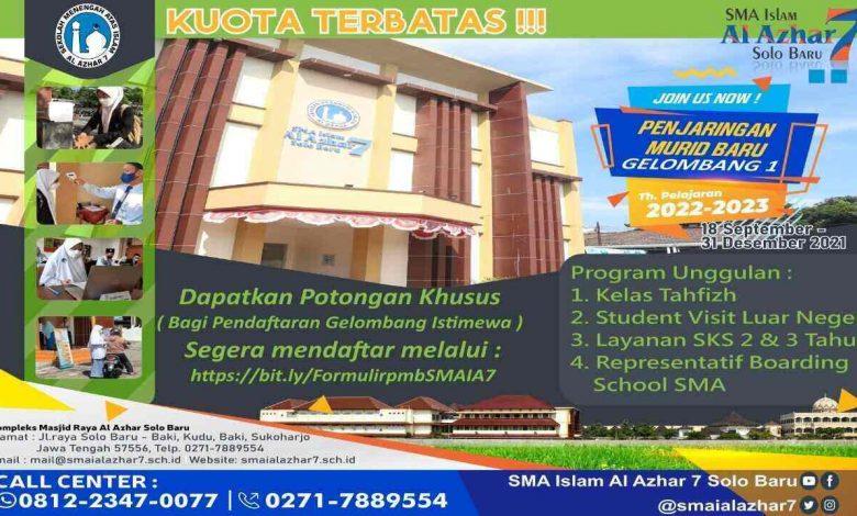 penerimaan murid baru pmb SMA Islam Favorit al azhar solo baru jateng 2022